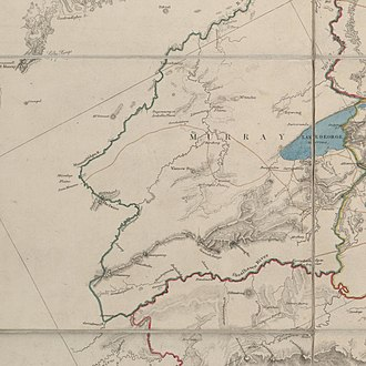 Monaro Highway - Road depicted in Thomas Mitchell's 1834 map (Note: Top of image is roughly northwest)