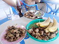 Roast bananas with meat.JPG