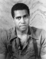 Robert Earl Jones in Langston Hughes' Don't You Want to be Free? (23 June 1938; photograph by Carl Van Vechten).png