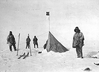 Polheim - Scott (at left) and companions at Polheim, South Pole, January 1912.