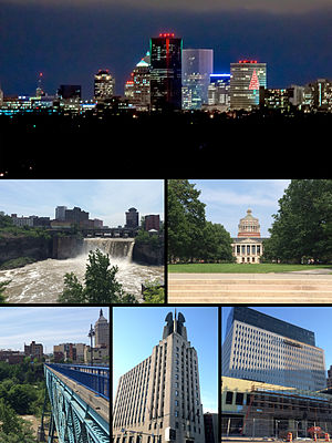 (top to bottom, left to right) the Downtown Rochester Skyline, High Falls (Rochester, New York), Rush Rhees Library at the University of Rochester, Kodak Tower, Times Square Building, Midtown Plaza (Rochester)