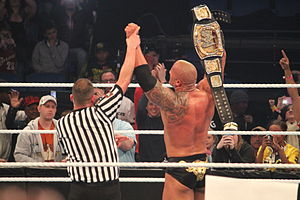 Elimination Chamber (2013) - The Rock after retaining the WWE Championship at the event.