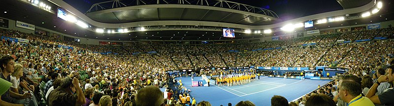 Trophy ceremony in Rod Laver Arena during Australian Open