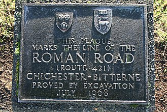 Hampshire - Plaque on Freemantle Common marking the route of the Roman Road from Chichester to Bitterne