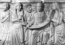 Roman sarcophagus of a reader identified to Plotinus and disciples.jpg
