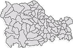 """Mapa konturowa okręgu Neamț, po lewej nieco na dole znajduje się punkt z opisem """"Bicaz"""""""