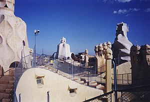 The Passenger (1975 film) - Roof of La Pedrera in Barcelona, as seen in 2005. The look of the roof was quite different in 1975, during filming of The Passenger. Locke (Nicholson) asks the Girl to get his things from the hotel so as not to be seen by his friend from the BBC.