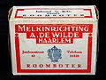 Roomboter pakje van Melkinrichting A de Wilde, Jordensstraat 43 Haarlem, foto2.JPG