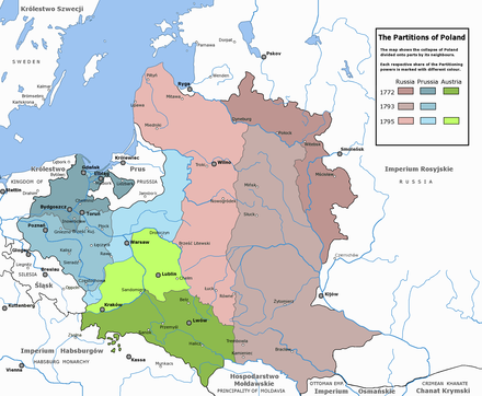 Partitions of Poland in 1795: the coloured territories show the extent of the Polish-Lithuanian Commonwealth just before the first partition. In blue (north-west), land absorbed by the Kingdom of Prussia, green (south) by Austria, and red (east) by the Russian Empire. Rzeczpospolita Rozbiory 3.png