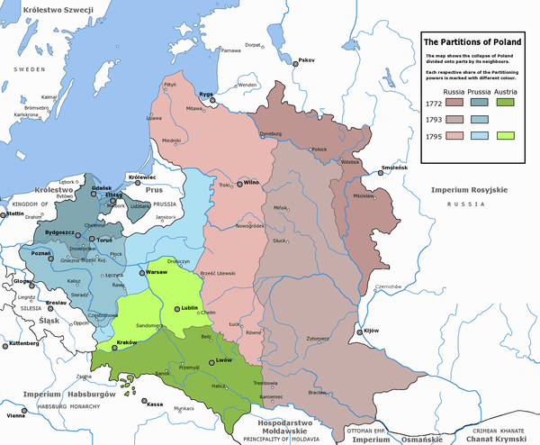 The three partitions of Poland (the Polish-Lithuanian Commonwealth). The Russian Partition (red), the Austrian Partition (green), and the Prussian Partition (blue) Rzeczpospolita Rozbiory 3.png