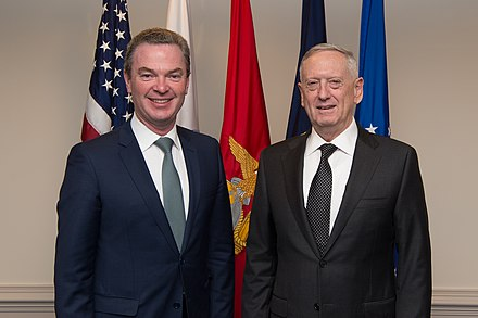 Pyne with Jim Mattis, the United States Secretary of Defense, in April 2017