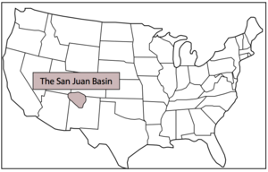 San Juan Basin - Location of the San Juan Basin on a map of the United States.