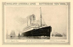 English: Holland-America Line card with the SS...