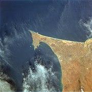 Vue satellite de la presqu'île du Cap-Vert