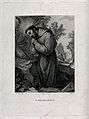 Saint Francis of Assisi in wilderness; kneeling in front of a crucifix. Wellcome V0032046.jpg