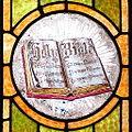 Saint John the Baptist Catholic Church (Dry Ridge, Ohio) - stained glass, Holy Bible.jpg