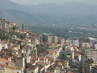 Vallo di Diano - View of Sala Consilina's Old Town. In background, the southern part of the valley.