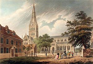 Edward Dayes - Salisbury Cathedral, 1798 engraving by Francis Jukes, after Dayes.