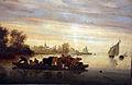 Salomon van ruysdael, pesaggio fluviale con zattere che trasportano bestiame, 1650 ca. 02.JPG