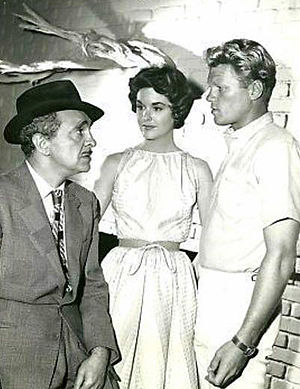 "The Aquanauts - Scene from the episode ""Night Dive"".  From left: Sam Levene, Sue Randall, and Jeremy Slate (1960)"