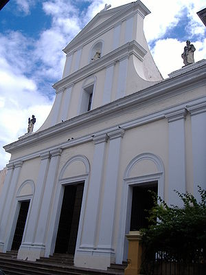 Front view of the San Juan Cathedral in San Juan.