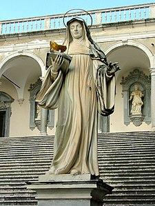 Statua della santa a Montecassino