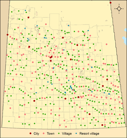 Map of urban municipalities by type in Saskatchewan as of 2013