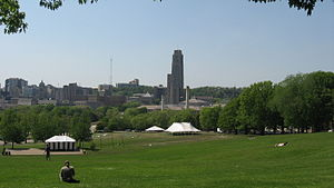 Flagstaff Hill, Pennsylvania - A view from the top of Flagstaff Hill looking toward's the University of Pittsburgh's Cathedral of Learning