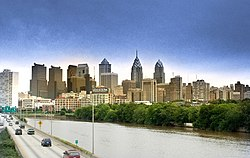 Approaching Center City Philadelphia from the south