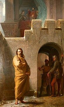 Enrico IV a Canossa, dipinto di Eduard Schwoiser, 1862.