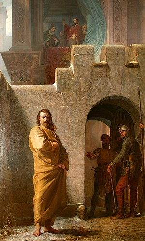 Lambert of Hersfeld - Henry at Canossa, 19th-century painting