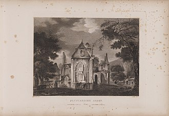 Pluscarden Abbey - Engraving of the abbey by James Fittler in Scotia Depicta, published 1804