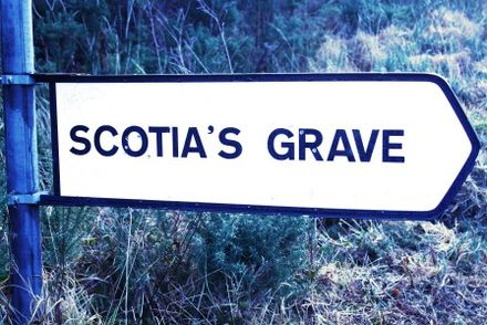 Signpost on by-road, south of Tralee Scotias Signpost for Wikip.jpg