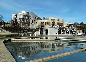 Scottish Parliament Building - Frontage of the Scottish Parliament Building and adjacent pool, March 2017