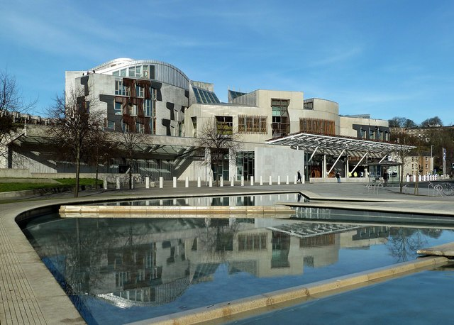 Scottish Parliament Building and adjacent water pool, 2017