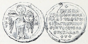 Black-and-white sketch of a seal showing a winged archangel on the obverse, and a Greek inscription on the reverse