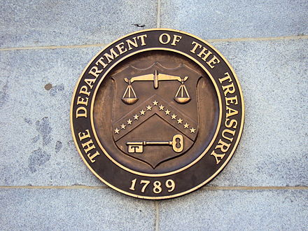 Seal on United States Department of the Treasury on the Building Seal on United States Department of the Treasury on the Building.JPG