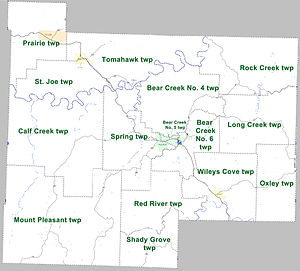 Searcy County, Arkansas - Townships in Searcy County, Arkansas as of 2010