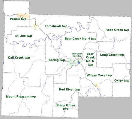 Townships in Searcy County, Arkansas as of 2010 Searcy County Arkansas 2010 Township Map large.jpg