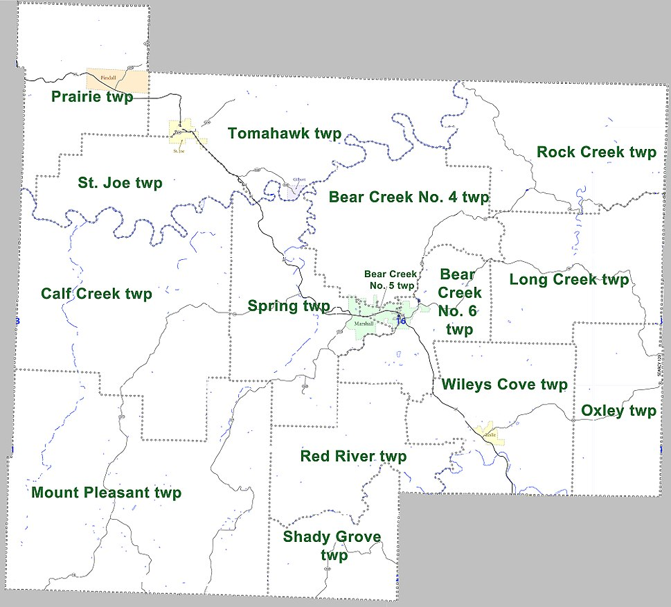 Searcy County Arkansas 2010 Township Map large