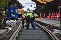 Seattle - laying trolley tracks on Broadway at James 07.jpg