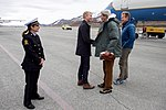 Secretary Kerry Meets With a Local Official Upon His Arrival at Svalbard Airport in Norway (27706403595).jpg