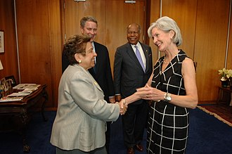 Donna Shalala - HHS Secretary Kathleen Sebelius greets Shalala, former Senate Majority Leader Bill Frist, and former HHS Secretary Louis Sullivan prior to a bipartisan health reform implementation meeting in Washington, D.C. in 2010.