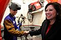 Secretary of Labor Hilda L. Solis shakes hands with a student, 2011.jpg