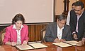 Sekhar Basu and the CERN Director General, Dr. Fabiola Gianotti signing an agreement for making India an Associate Member State of CERN, in Mumbai.jpg