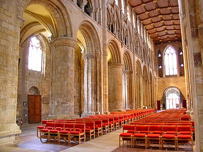Selby Abbey in Yorkshire, Benedictine abbey, purchased by the town as a parish church Selby Abbey Nave.jpg