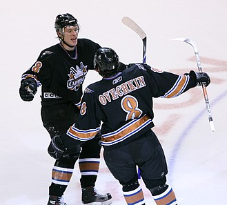 Alexander Ovechkin - Ovechkin celebrates with teammate Alexander Semin during the 2006–07 season.