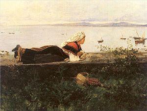 Serafín Avendaño - Image: Serafín Avendaño 1838 1916, Paisaje con gallega 1891
