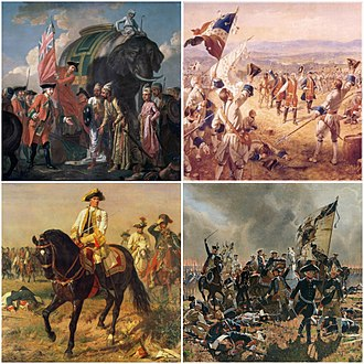 Seven Years' War - Clockwise from top left: the Battle of Plassey (23 June 1757); the Battle of Carillon (6–8 July 1758); the Battle of Zorndorf (25 August 1758); the Battle of Kunersdorf (12 August 1759)