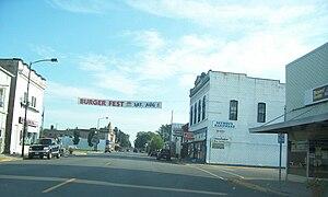 Seymour, Wisconsin - Banner advertises 2006 Burgerfest